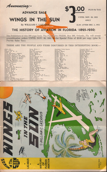 Promotional Flyer for Wings in the Sun (The History of Aviation in Florida 1895-1950) - 1951