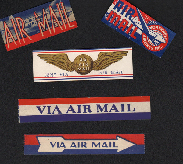 A Lot of 5 Air Mail Stickers - circa 1930-1950