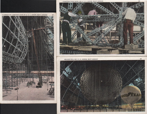 Three USS Akron Postcards