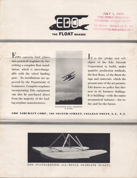 Edo Floats Sales Flyer - 1929