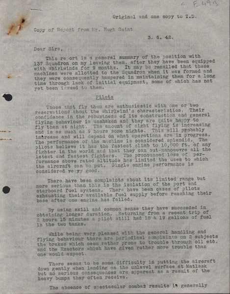 WWII Report on a Visit to RAF 137 Squadron - 6 Mar 1942