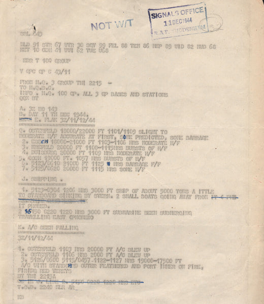 WWII Signals Office Teletype Intelligence Report - 1944