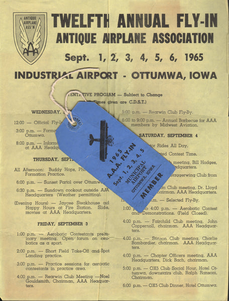 1965 Antique Airplane Association Annual Fly-In Schedule and Pass