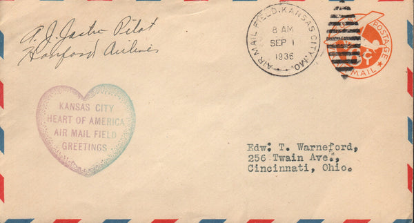 Hanford Airlines Air mail Envelope - 1936