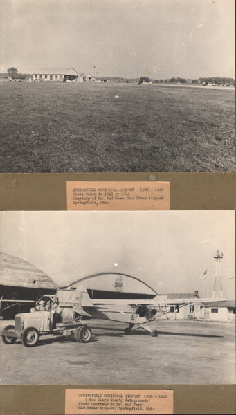 Two Photos, Springfield, Ohio, Municipal Airport - circa mid-1940's