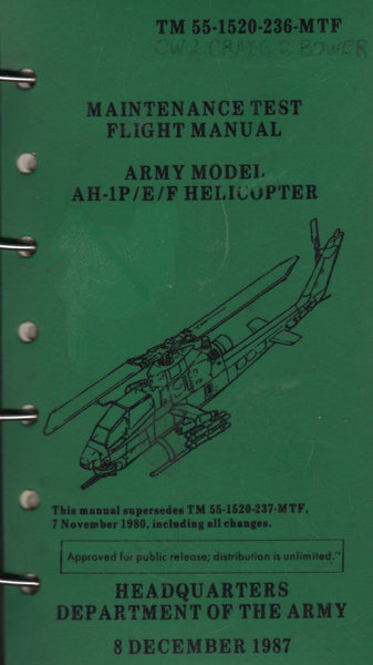 "Bell Huey ""Cobra"" Helicopter Maintenance Flight Manual - 1987"