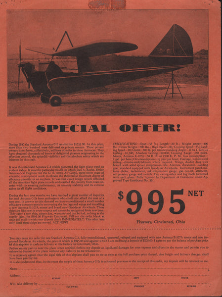Aeronca C-2 Sale Offer Flyer - 1931
