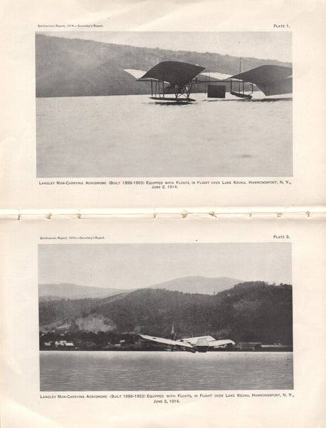 Langley Aerodrome Excerpt for 1914 Smithsonian Report