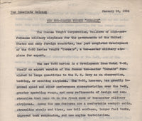 Vought V-90 Series Press Release - 1934