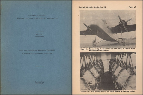 Avro 642 Commercial Airplane - NACA Circular No. 191 - 1934