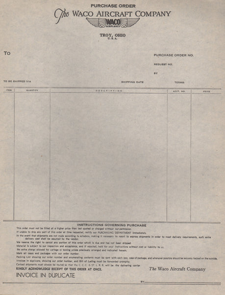 Vintage Waco Purchase Order Form