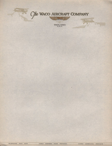 Vintage Waco Aircraft Company Letterhead Paper - Lot of 10
