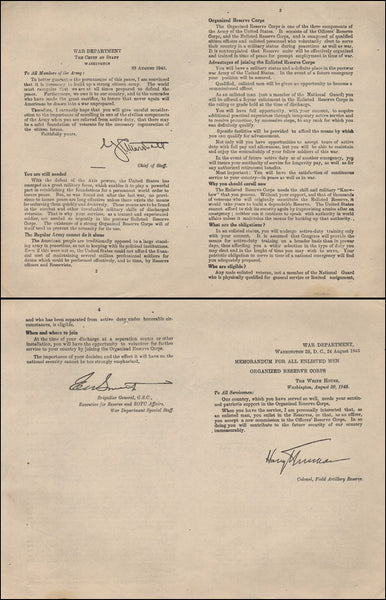 WWII Victory Memo - White House 20 Aug 1945