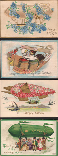 Four Early Aero-Themed Holiday Postcards - circa 1902/1913
