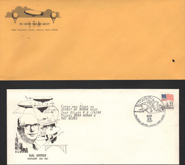 "Commemorative Flown Cover Goodyear ""Spirit of Akron"" - 1988"