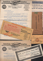 American School of Aviation Paper Lot - 1925