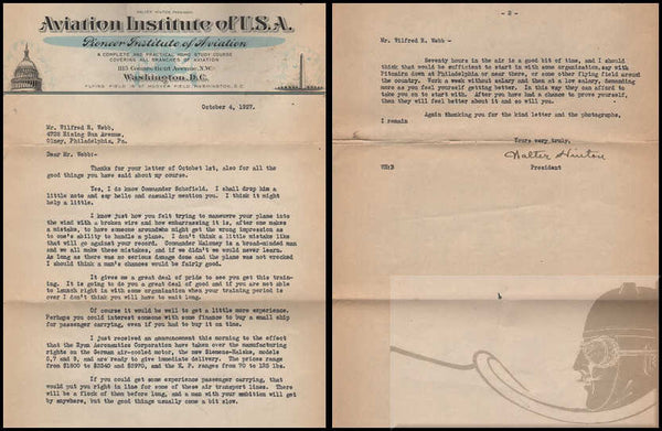 "Walter Hinton Typed Letter ""Signed"" -  1927"