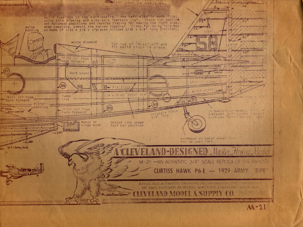 Cleveland Model Plan for Curtiss Hawk P6-E - circa 1929