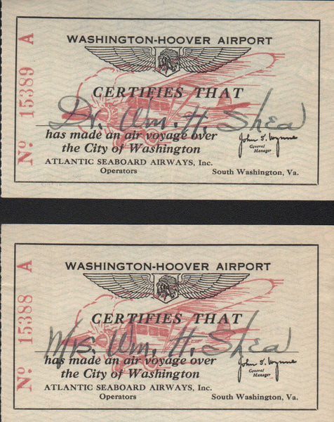 Sequential Tickets, Atlantic Seaboard Airways, Washington D.C. - circa 1935
