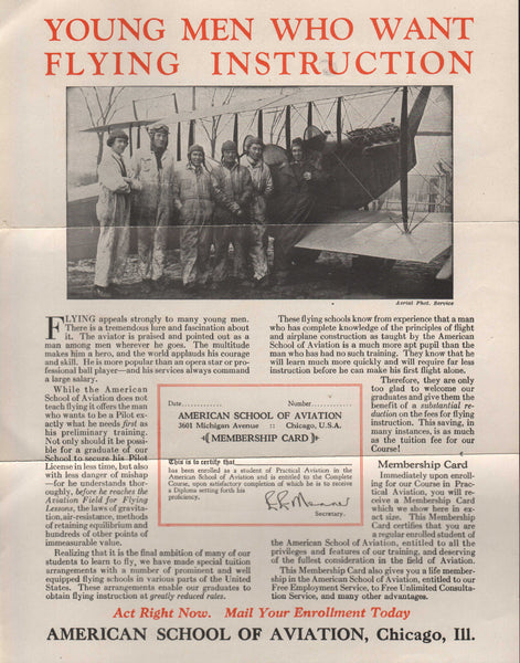 American School of Aviation Recruiting Flyer - circa 1926