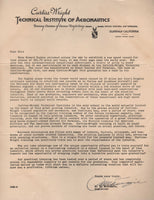 Curtiss-Wright Tech Institute of Aeronautics Letters - 1936
