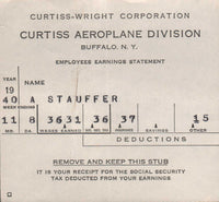 Curtiss-Wright Company/Curtiss Aeroplane Division Pay Stubs - 1940