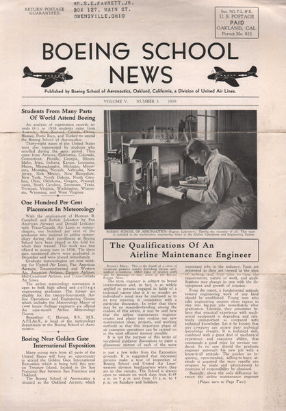 Boeing School News - 1939