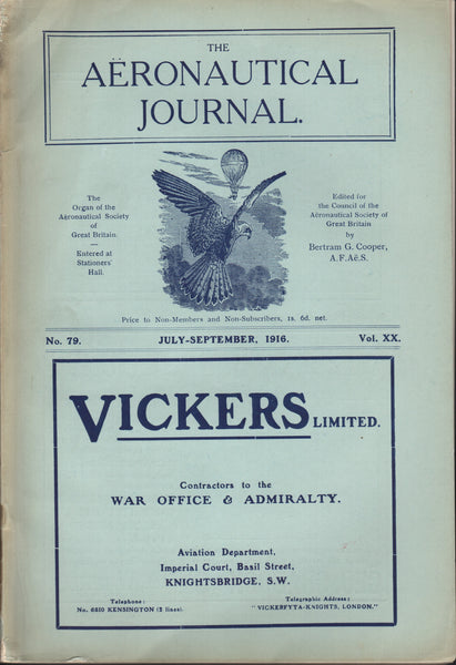 Wright Bros Articles in The Aeronautical Journal - July-Sep 1916