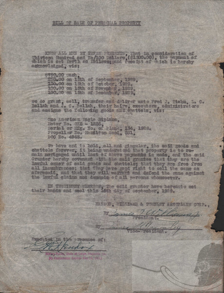 American Eagle Biplane Bill of Sale - 1929