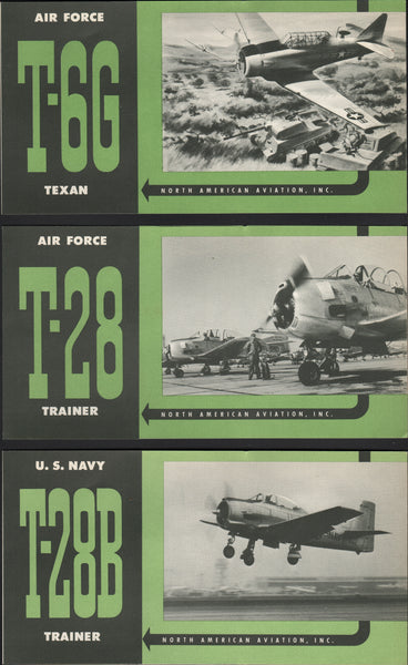 North American Aviation Promotional Flyers,  three on the T-6, T-28, and T-28B circa 1950's