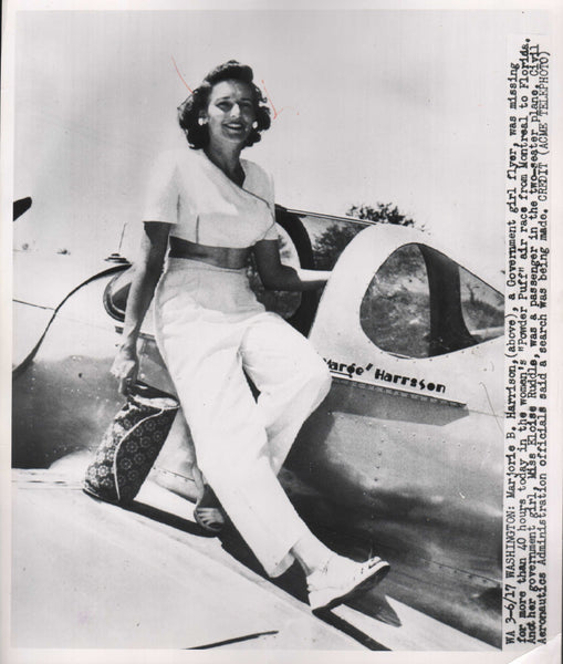 Original Press Photo, Missing Powder Puff Race Pilot - 1950
