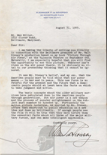 Typed Letter Signed by Aviation Visionary Alexander P. de Seversky - 1943