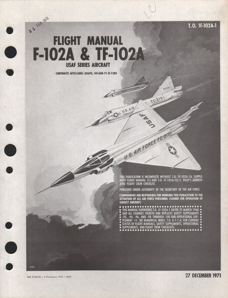 "Original F-102 ""Delta Dagger"" Pilot flight Manual - 1971"
