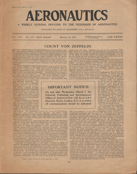 Count von Zeppelin Death Announcement -1917