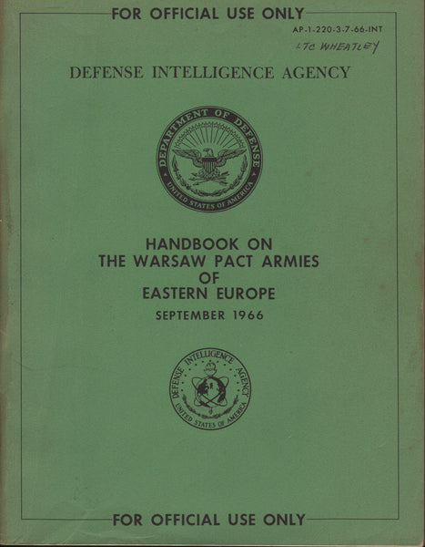 DOD Handbook on the Warsaw Pact Armies - 1966