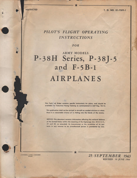 "Original WWII Pilot's Manual for the Lockheed P-38 ""Lightning"" - 1943"
