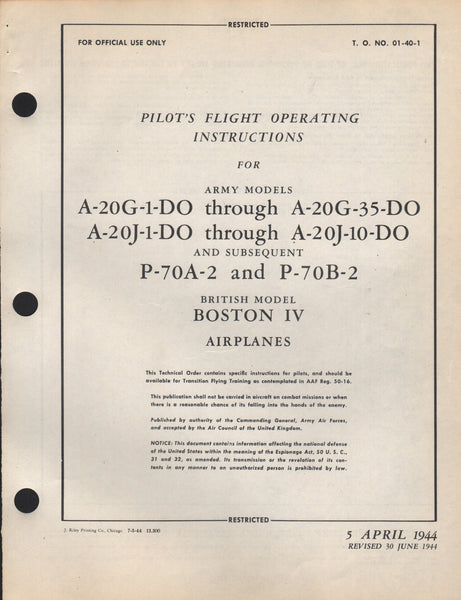 "Original WWII Pilot's Manual for the Douglas A-20 ""Havoc"" Medium Bomber- 1944"