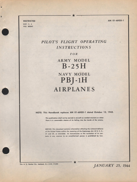 Original WWII Pilot's Manual for the B-25 - 1944