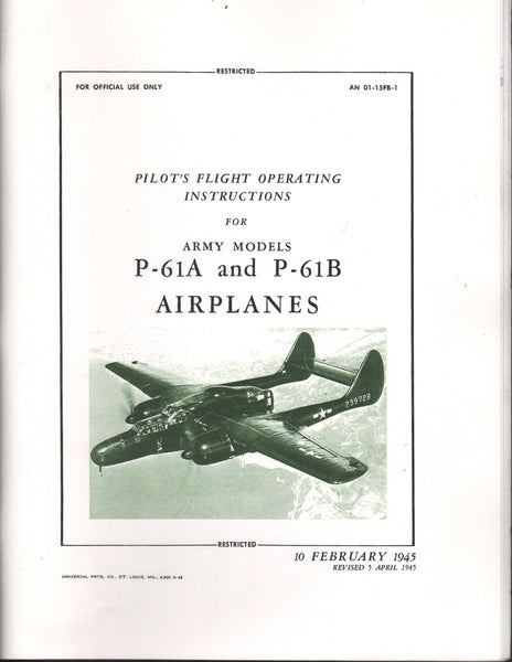 "Pilot's Handbook for Northrup P-61 ""Black Widow"" WWII Airplane (facsimile reprint)"