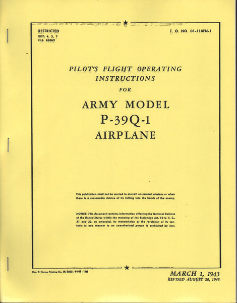 P-39Q-1 WWII Flight Manual (facsimile reprint)