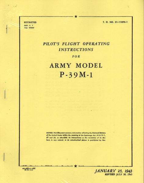 P-39M-1 WWII Flight Manual (facsimile reprint)