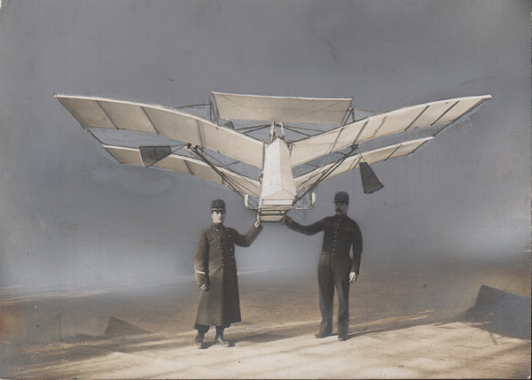 Very Early Tinted Press Photo of Aeroplane Figures Paulhan and Peyret - 1906