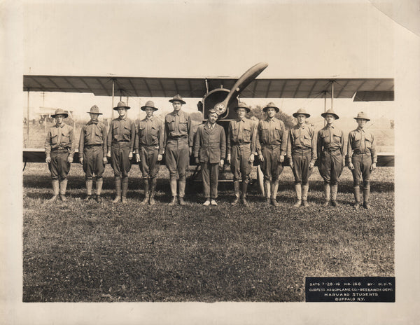 Photo, Harvard Students at Curtiss Aeroplane Company - 1916