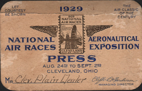 Press Pass to 1929 Cleveland National Air Races