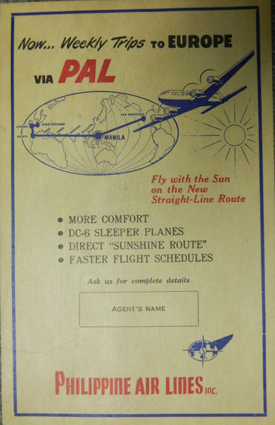 Philippine Airlines Counter Card, ca. 1950s