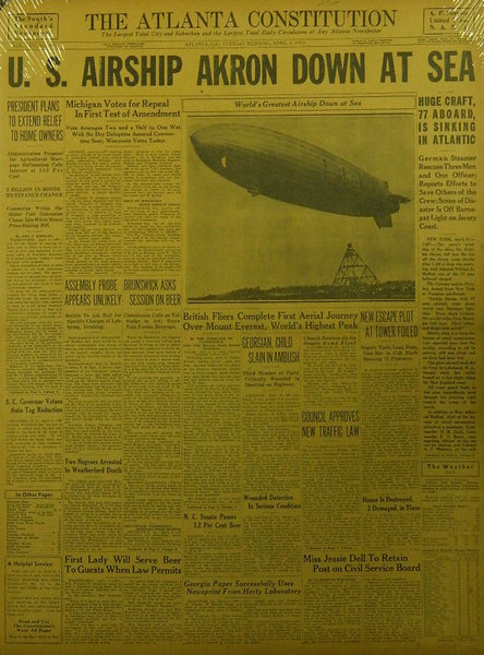 Airship Akron Crash Newspaper - 1933