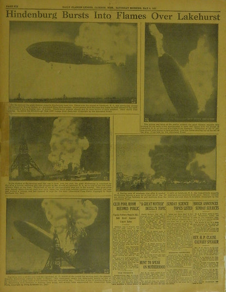 Hindenburg Crash Newspaper - 1937