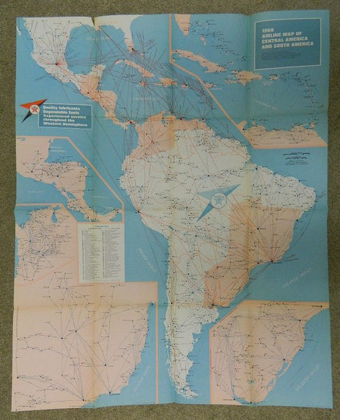 Texaco Airline Route Map, Central and South America - 1966