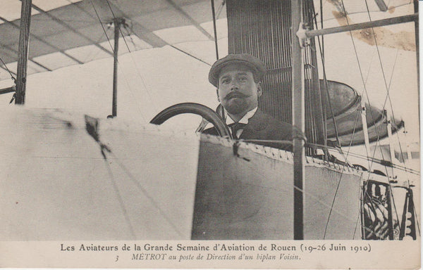 French Postcard- Aviator Metrot 1910