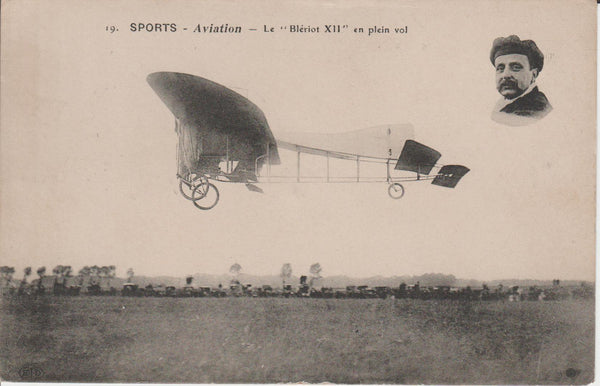 French Postcard - Bleriot XII in flight circa 1910